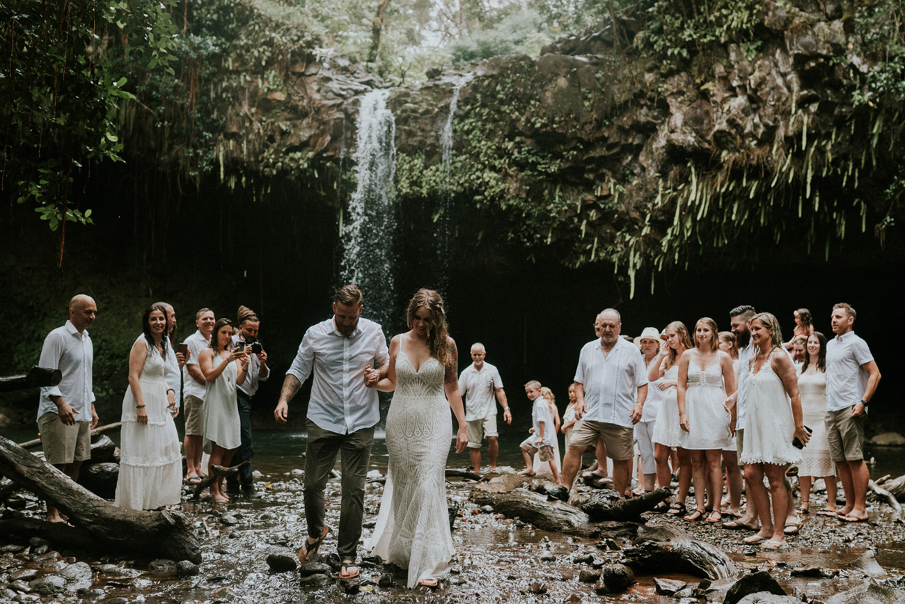 waterfall elopement with family and friends