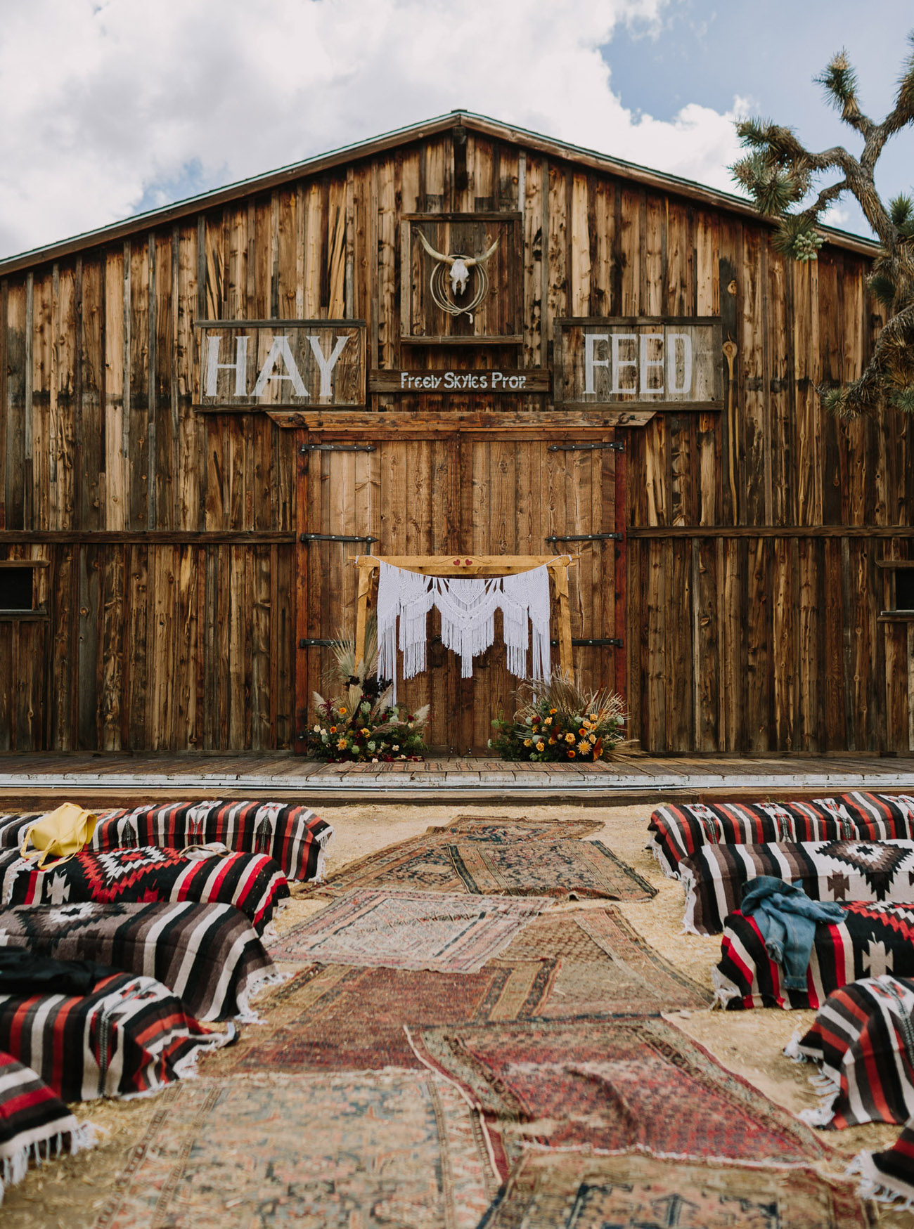 western wedding ceremony decor in Pioneertown