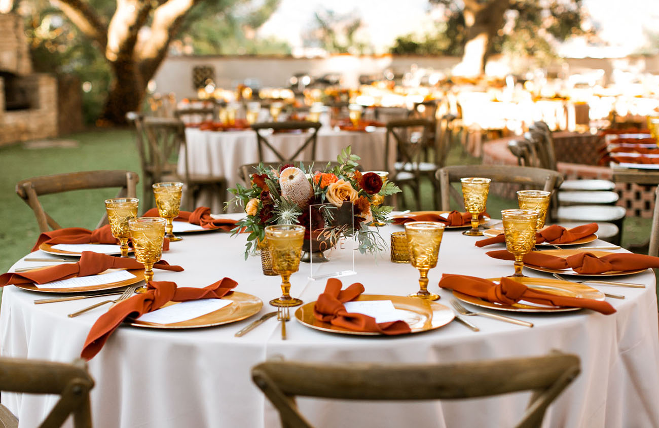 fall wedding color palette reception table