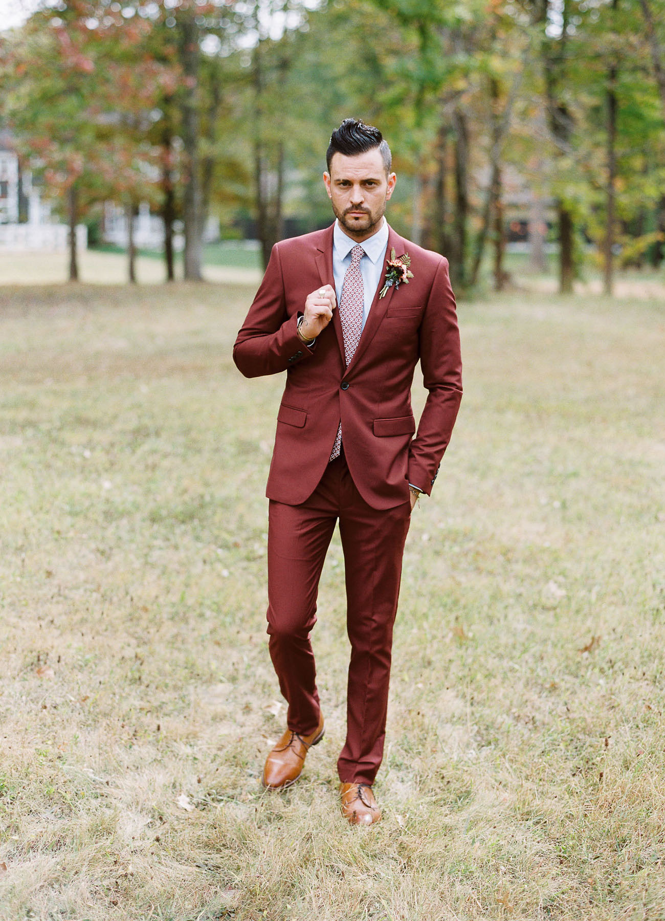 fall wedding color palette groom suit