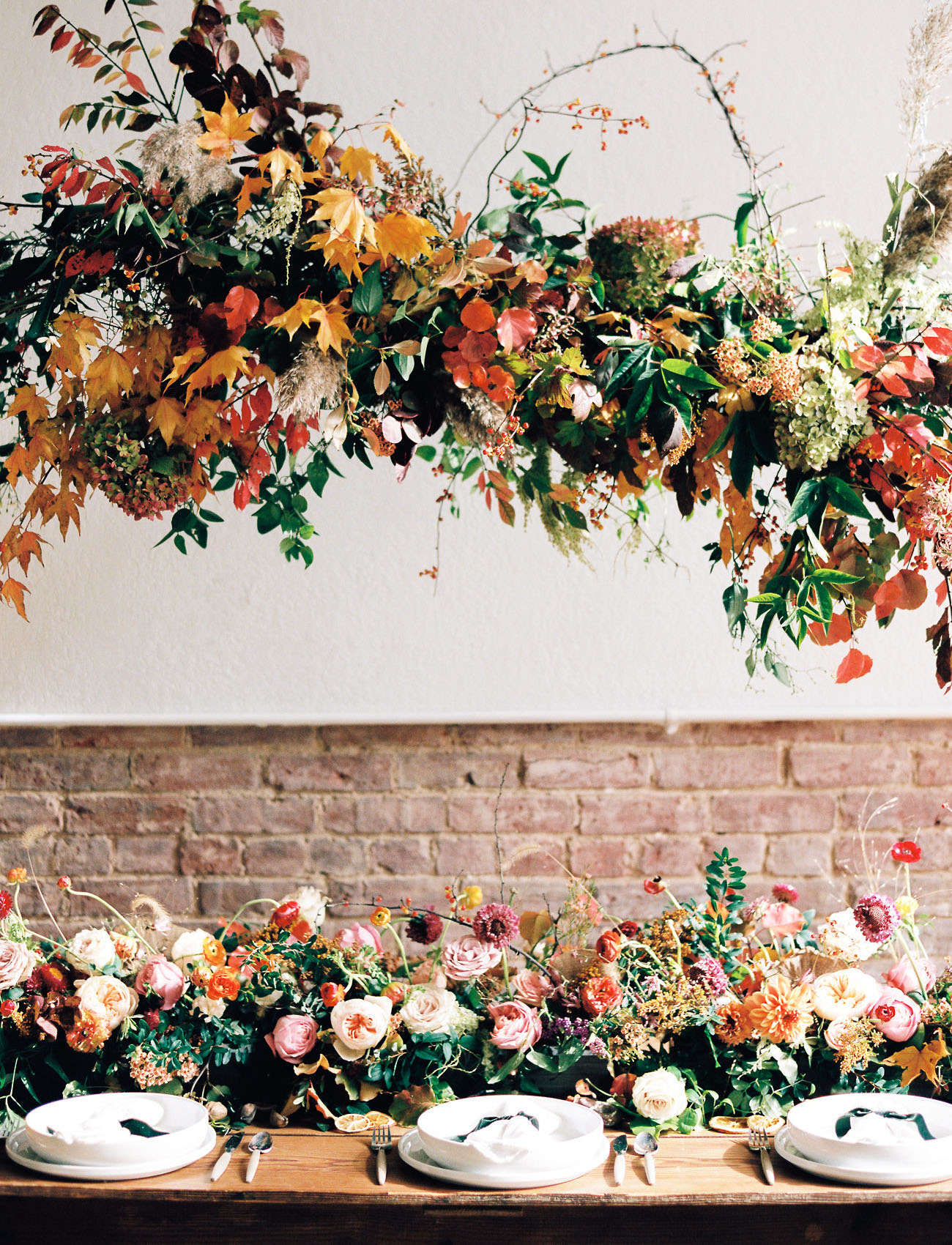 fall wedding color palette floral installation