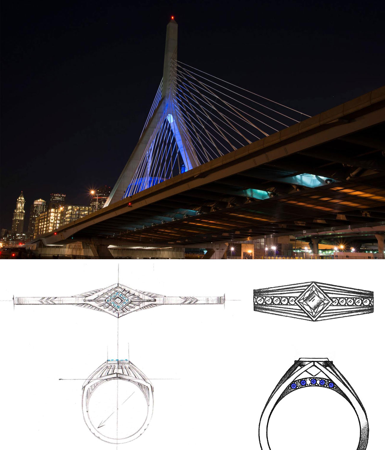 CustomMade engagement ring inspired by Boston