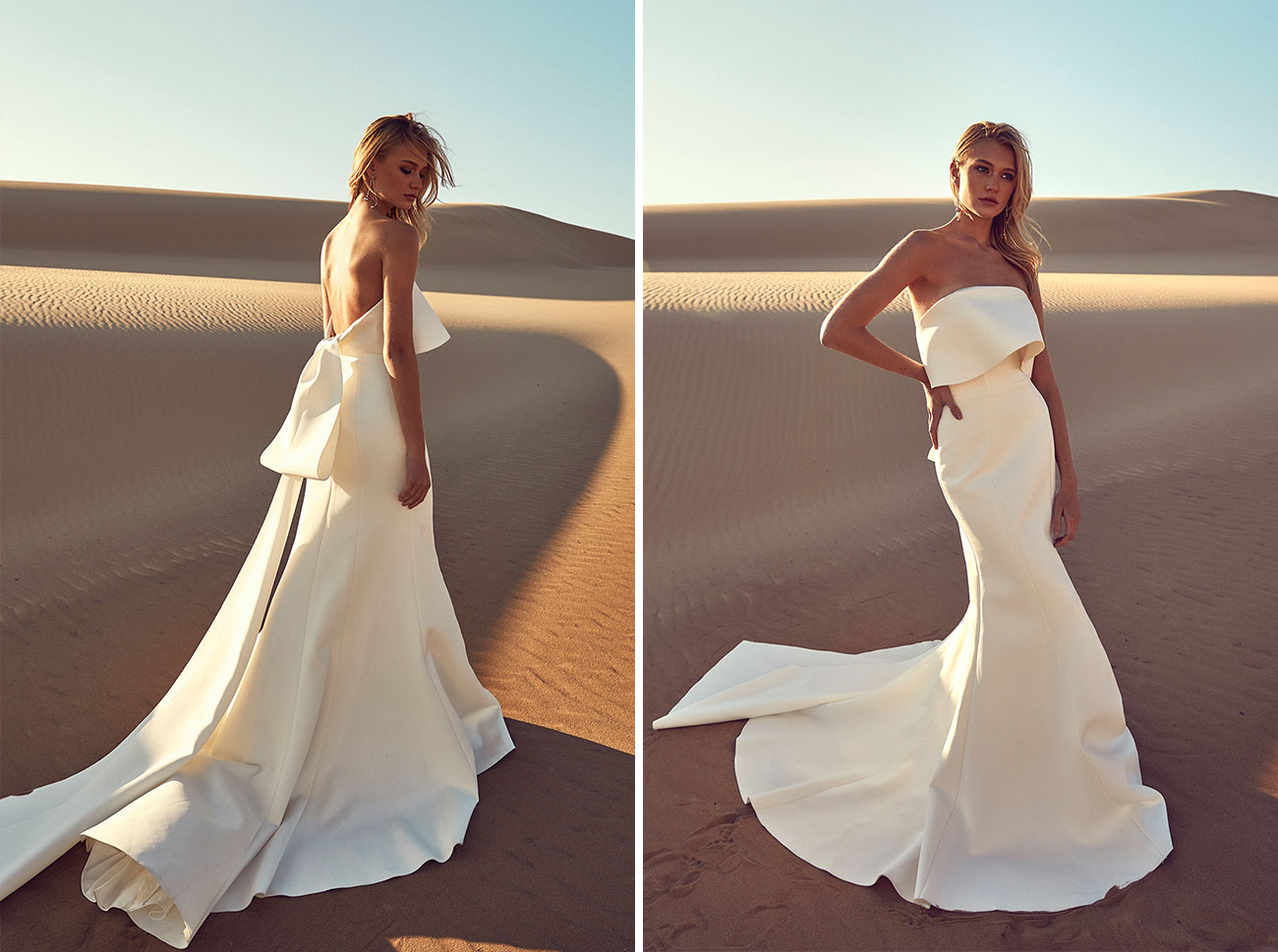 bride in modern structural wedding dress from CHOSEN by One Day