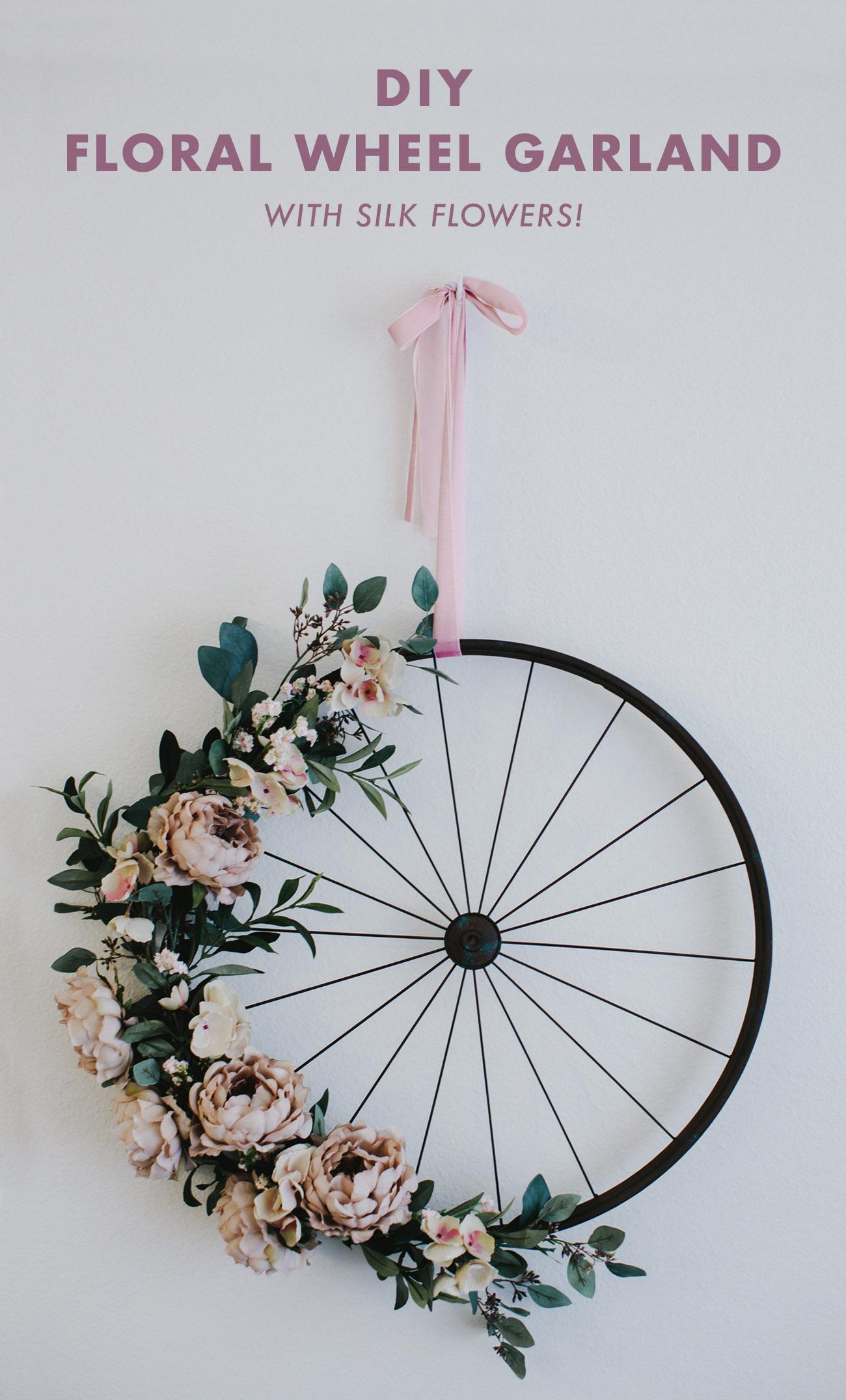 DIY Silk Flower Wheel Garland