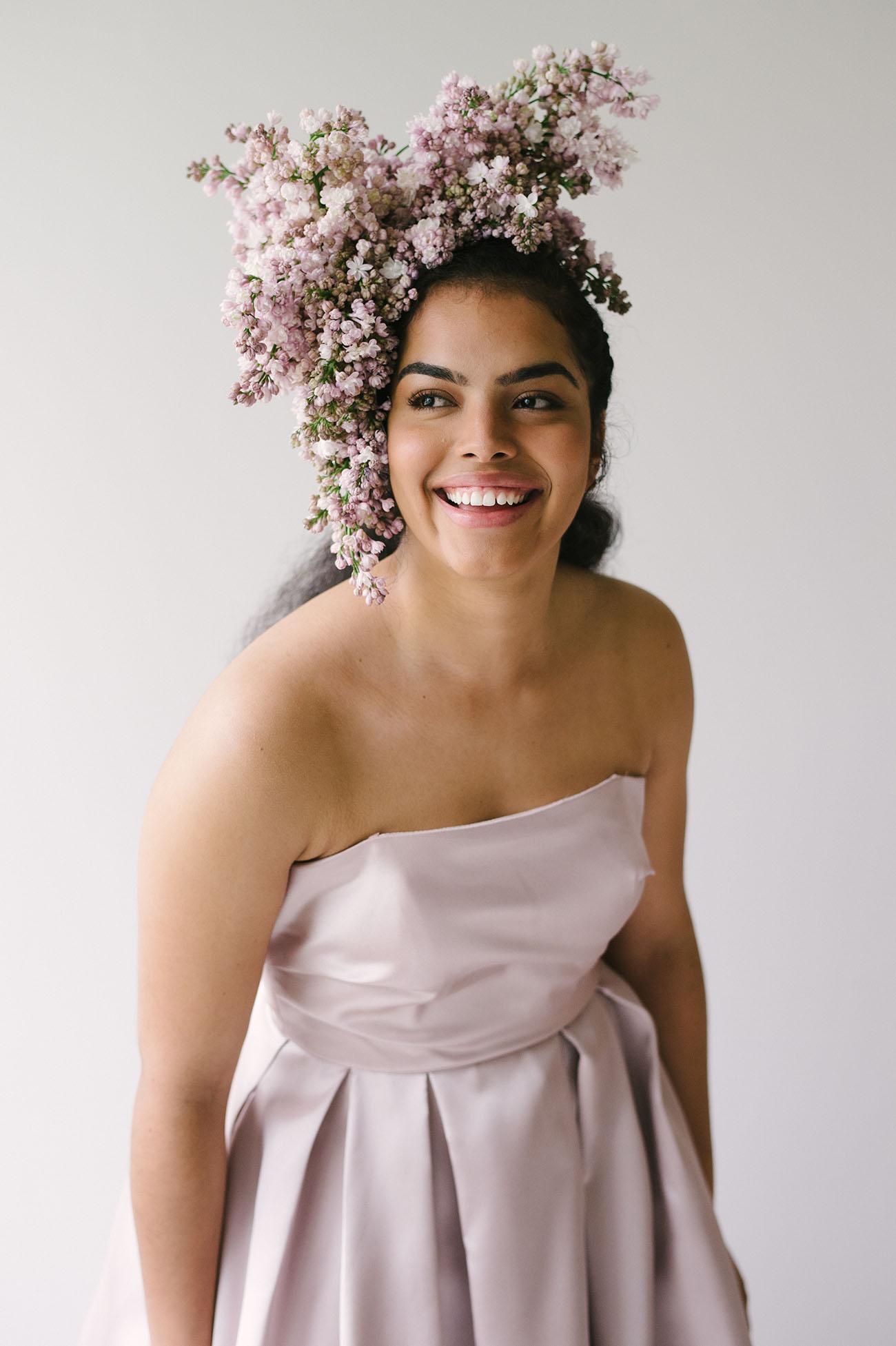 flower crown, bridal crown, flowers in hair, lilacs