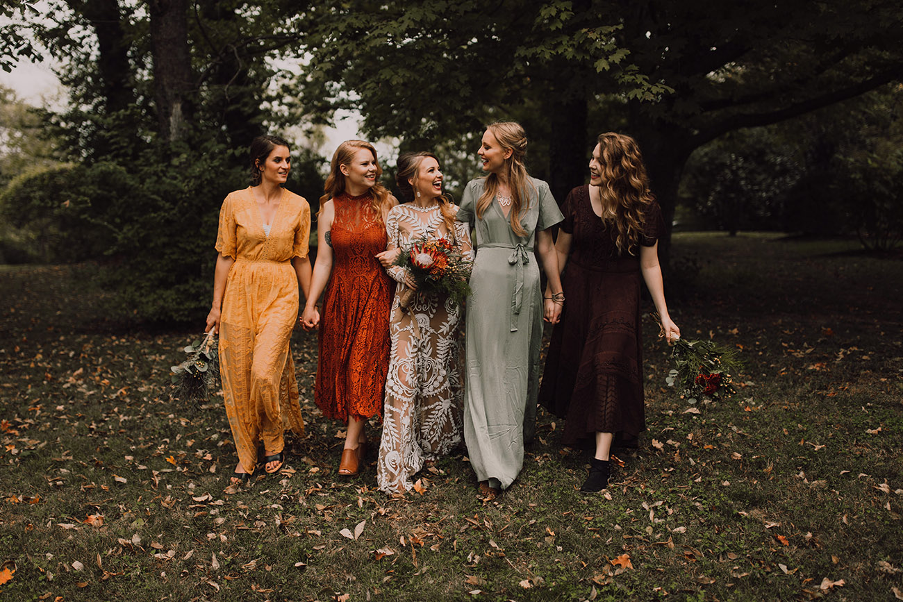 fall wedding color palette bridesmaids