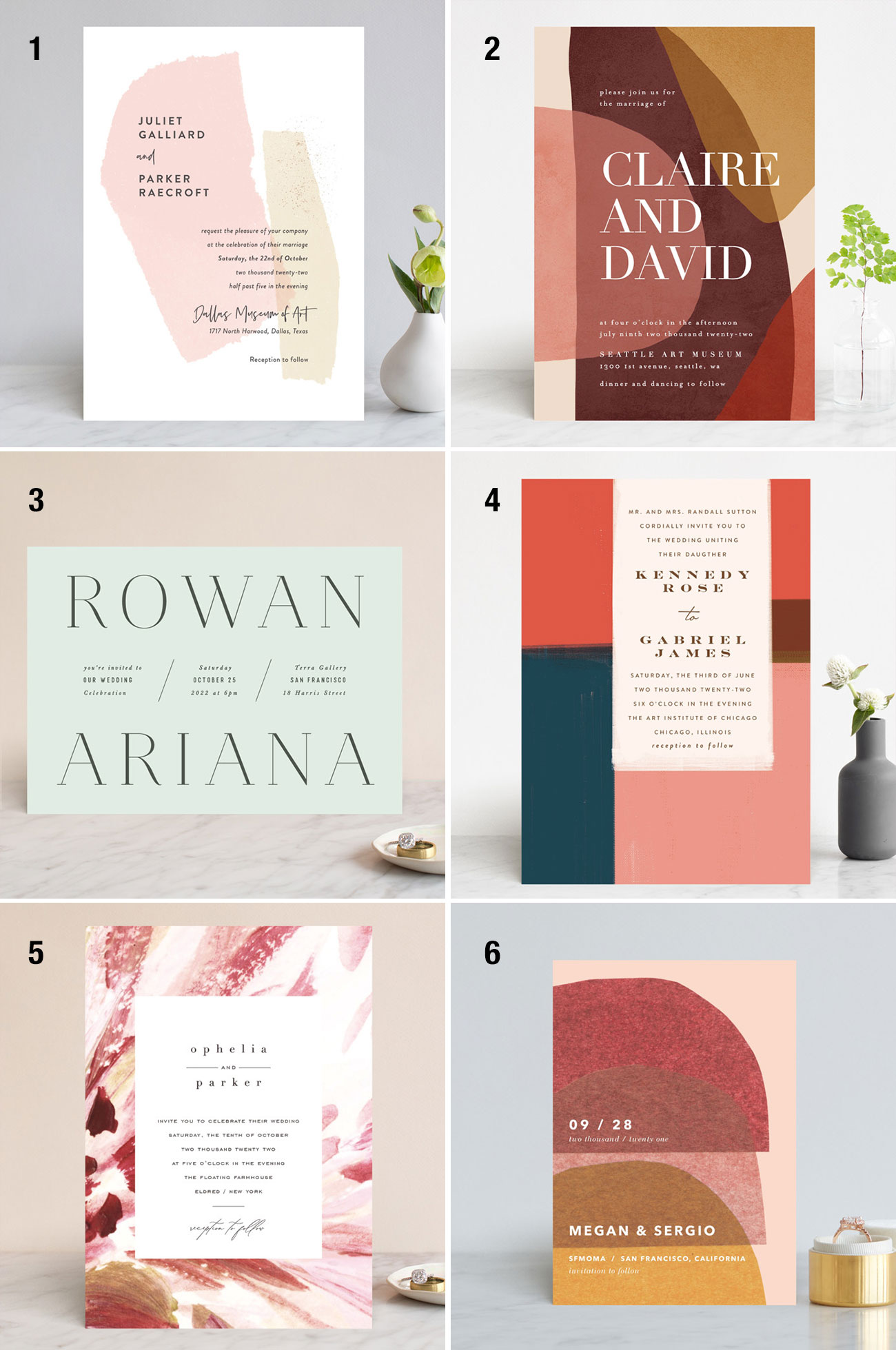 fall color palette wedding invitation ideas