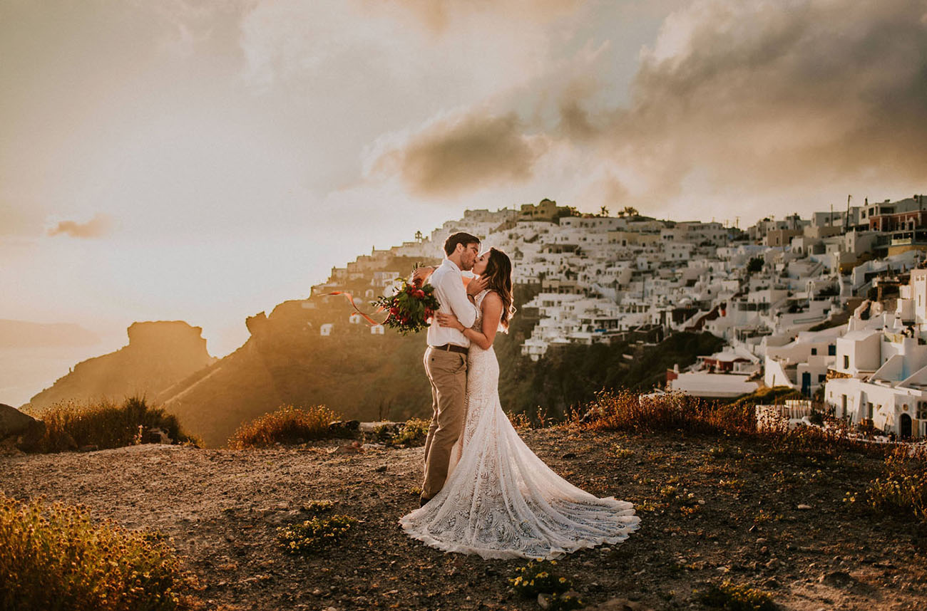 Dreamy Grecian Sunset: Modern Boho Elopement on a Santorini Terrace