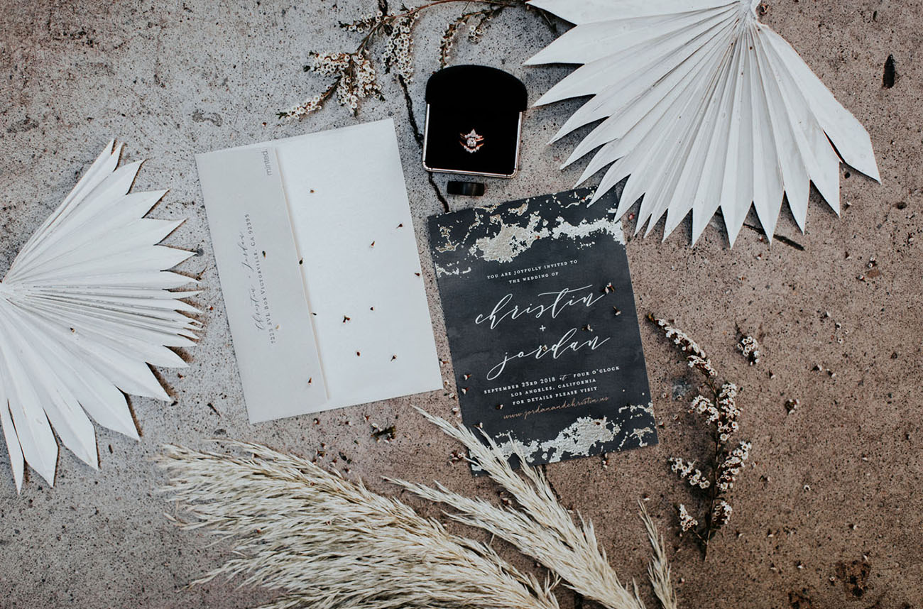 black foil wedding invitation by Minted
