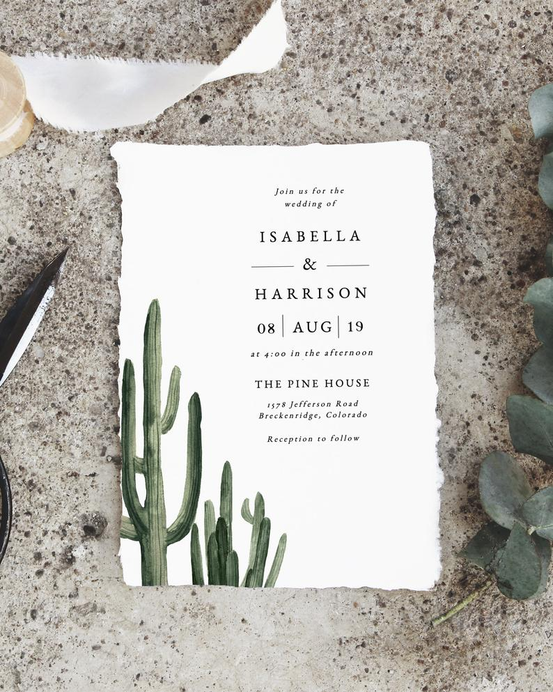 cactus wedding invitation on Etsy