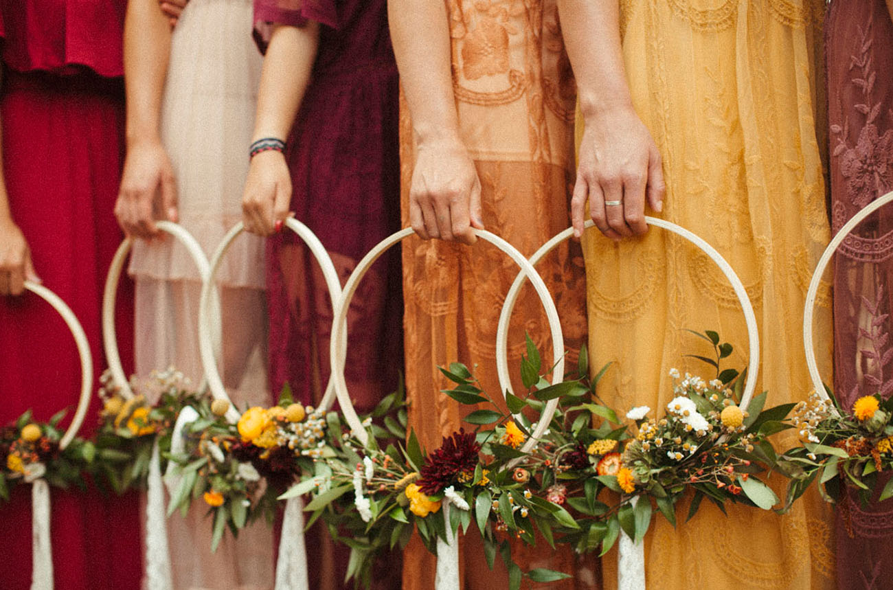 floral hoop bouquets