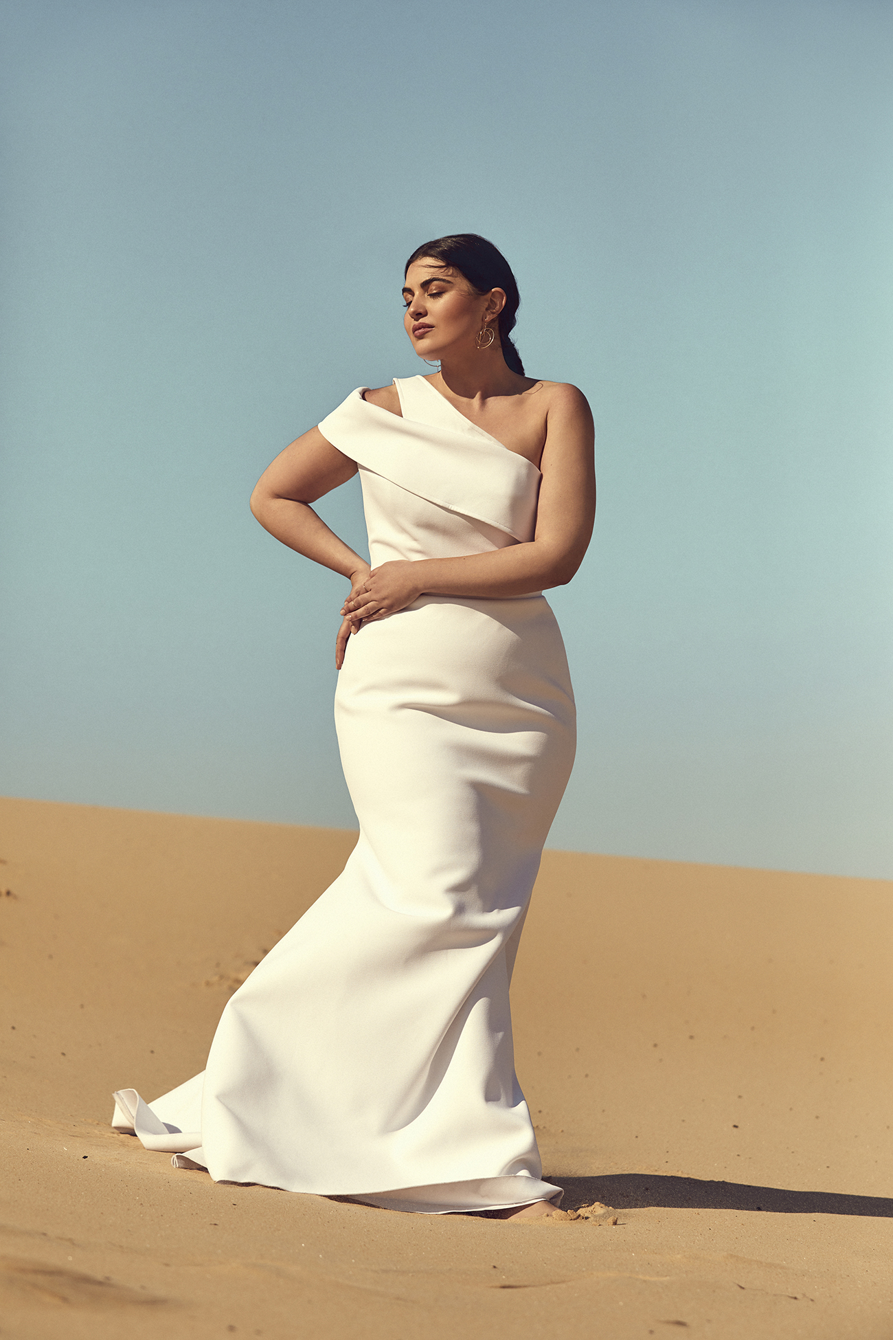 curvy wedding dress from CHOSEN by One Day Desert Rose Collection