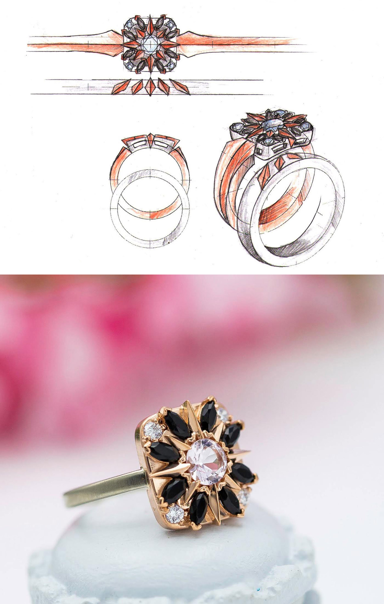 CustomMade engagement ring inspired by the compass rose