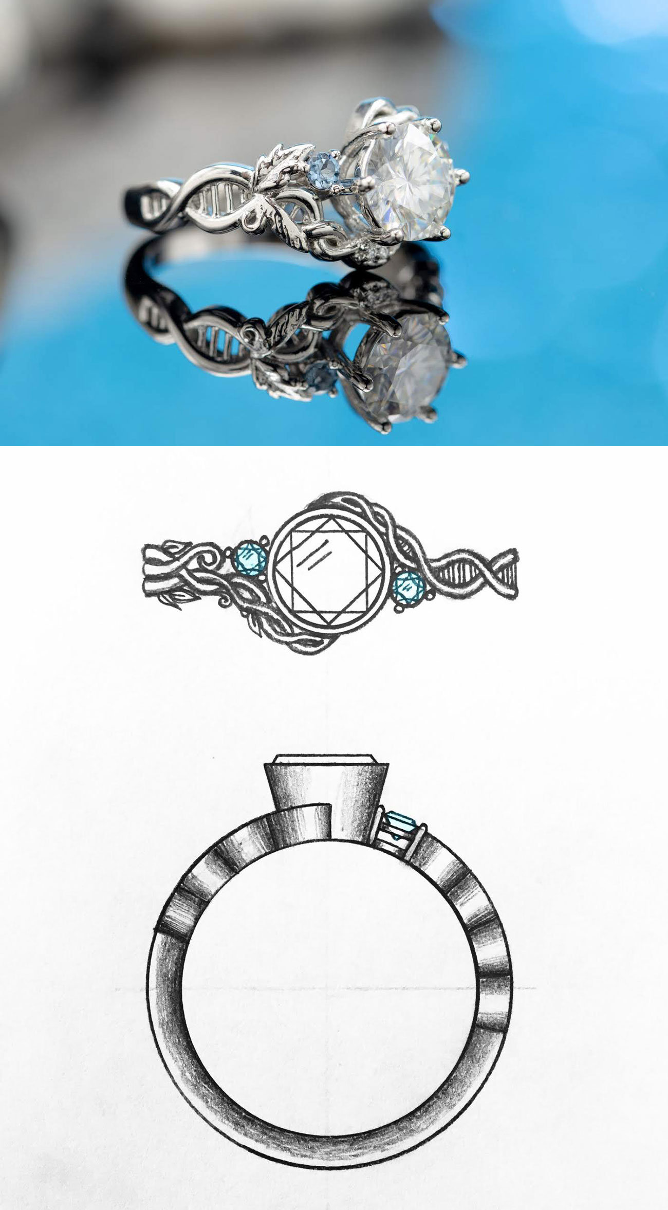 CustomMade engagement ring inspired by DNA