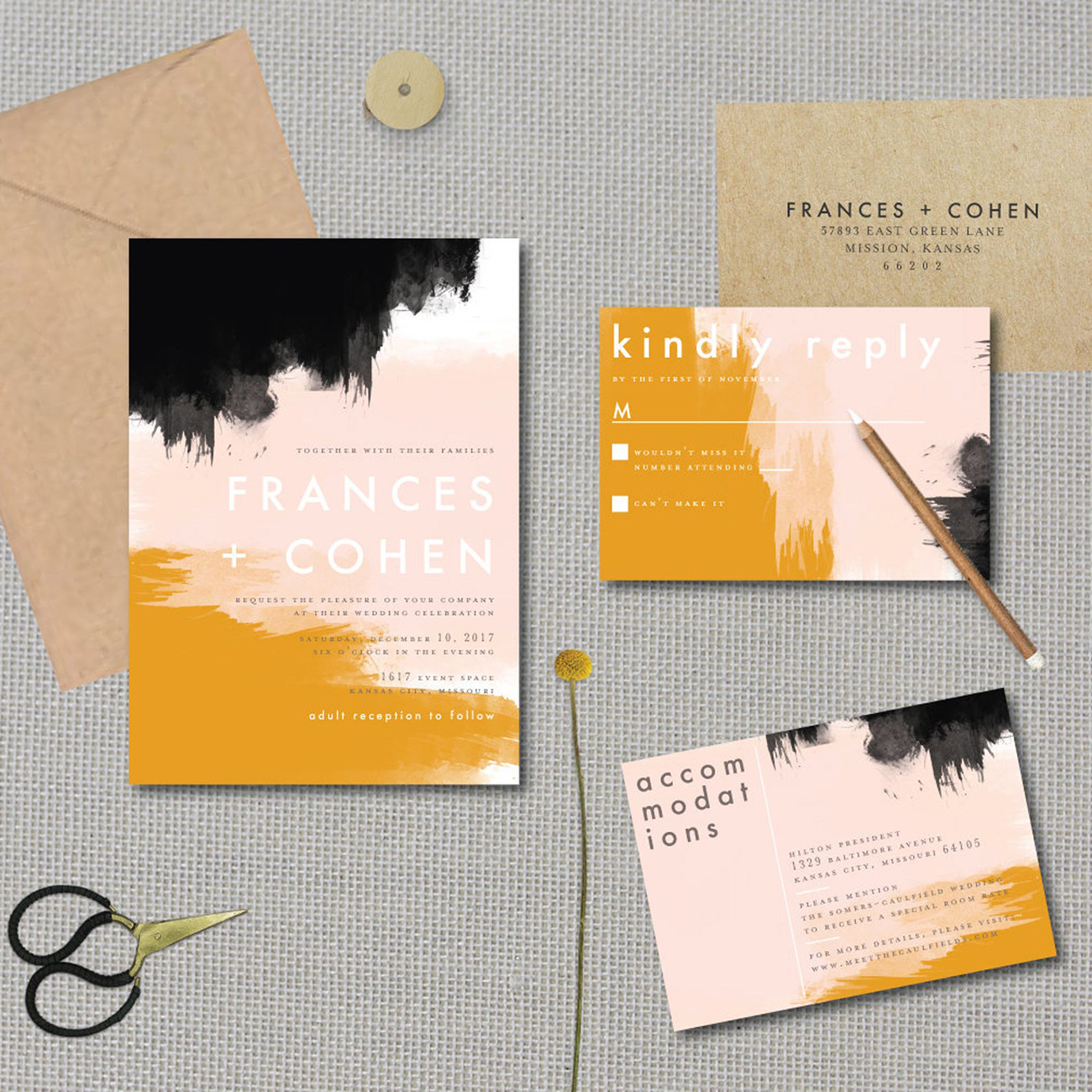etsy abstract sunset wedding invitation