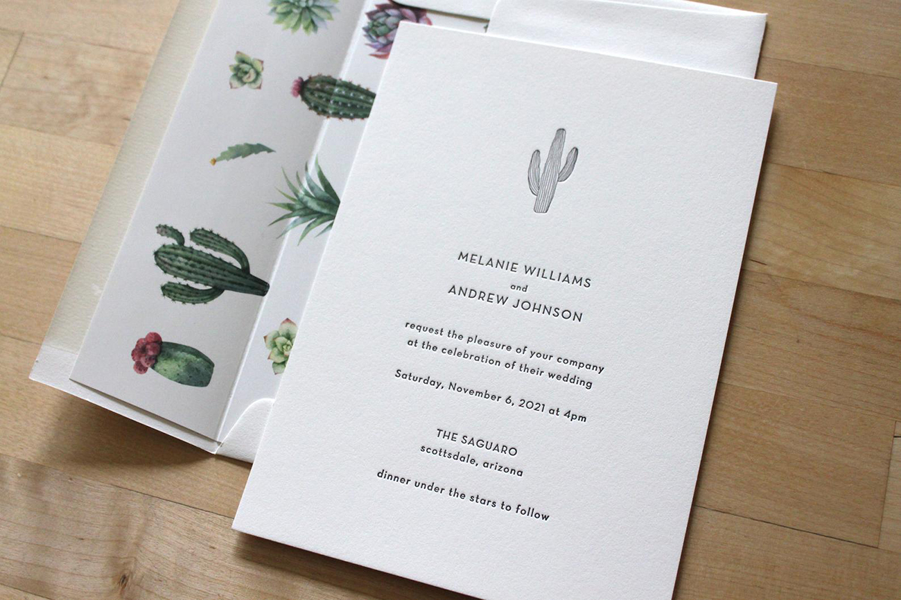 embossed cactus wedding invitation from Etsy