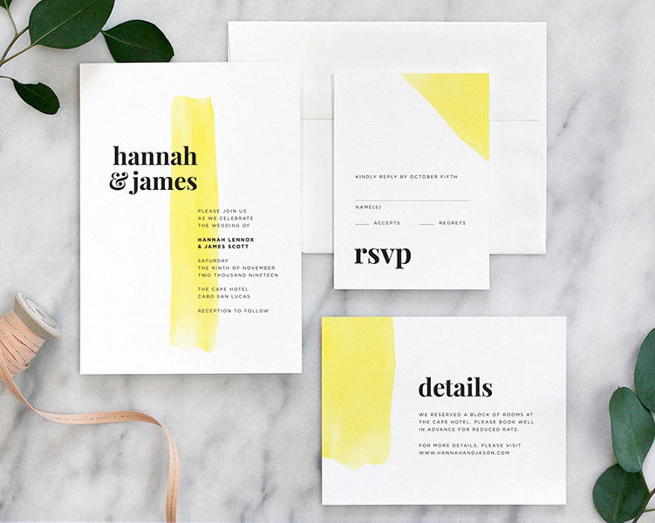 etsy minimal wedding invitation in custom colors