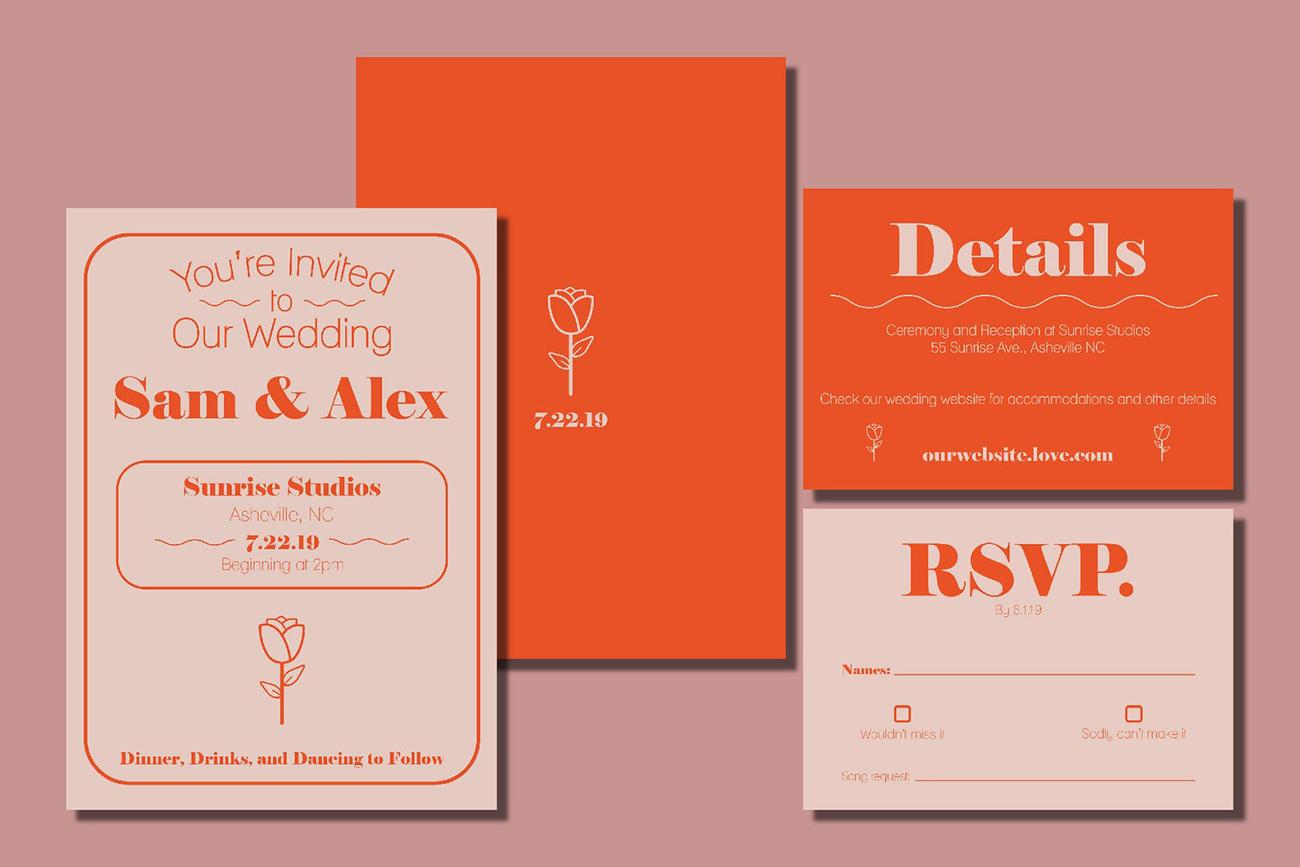 etsy modern rose wedding invitation