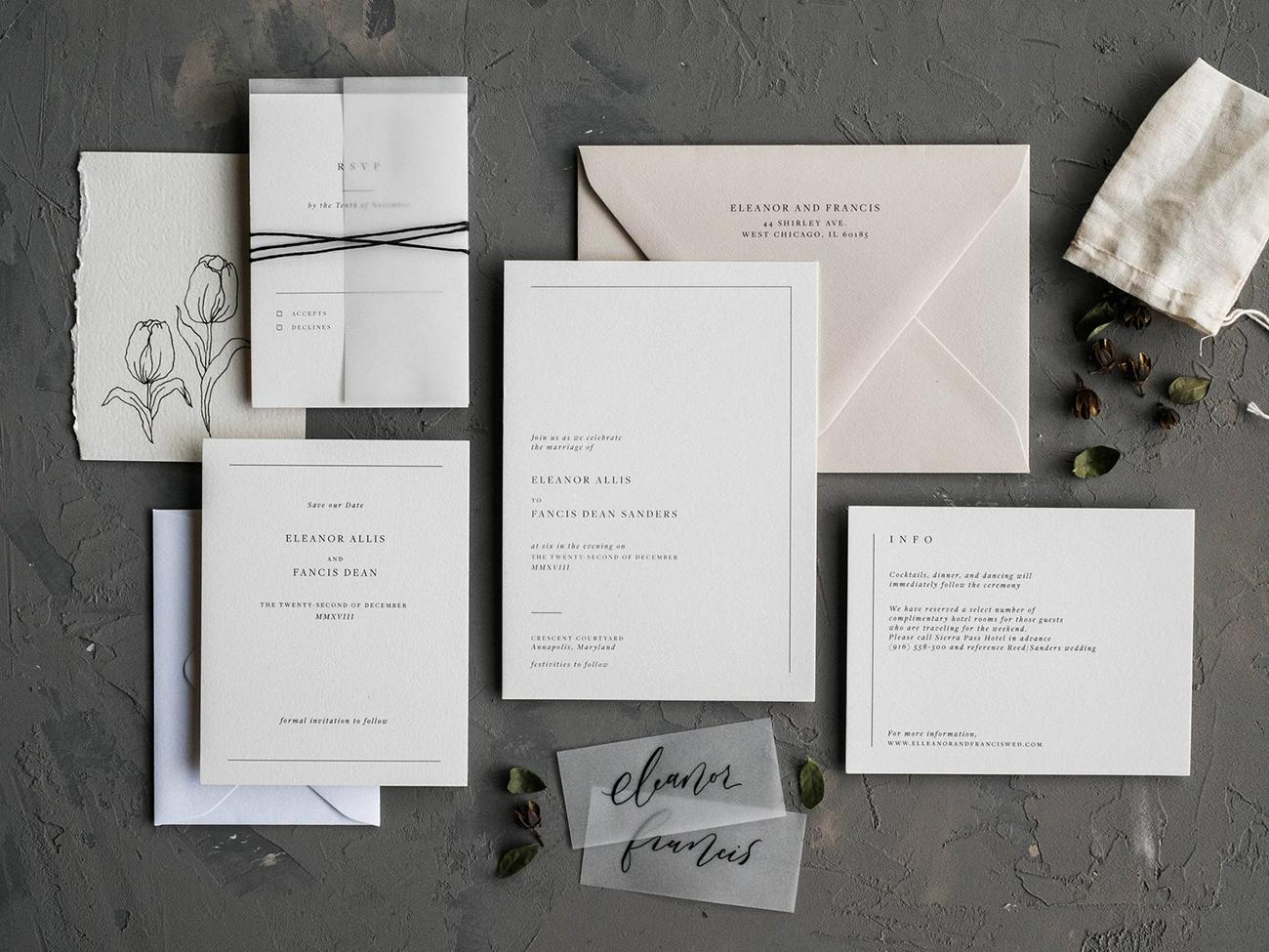 etsy modern wedding invitation with minimal type