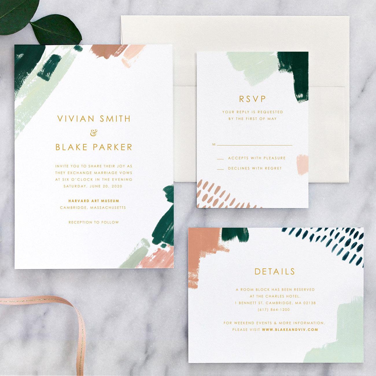 etsy painted wedding invitation