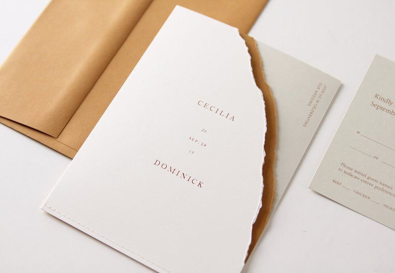 torn wedding invitation with gold foil from Etsy