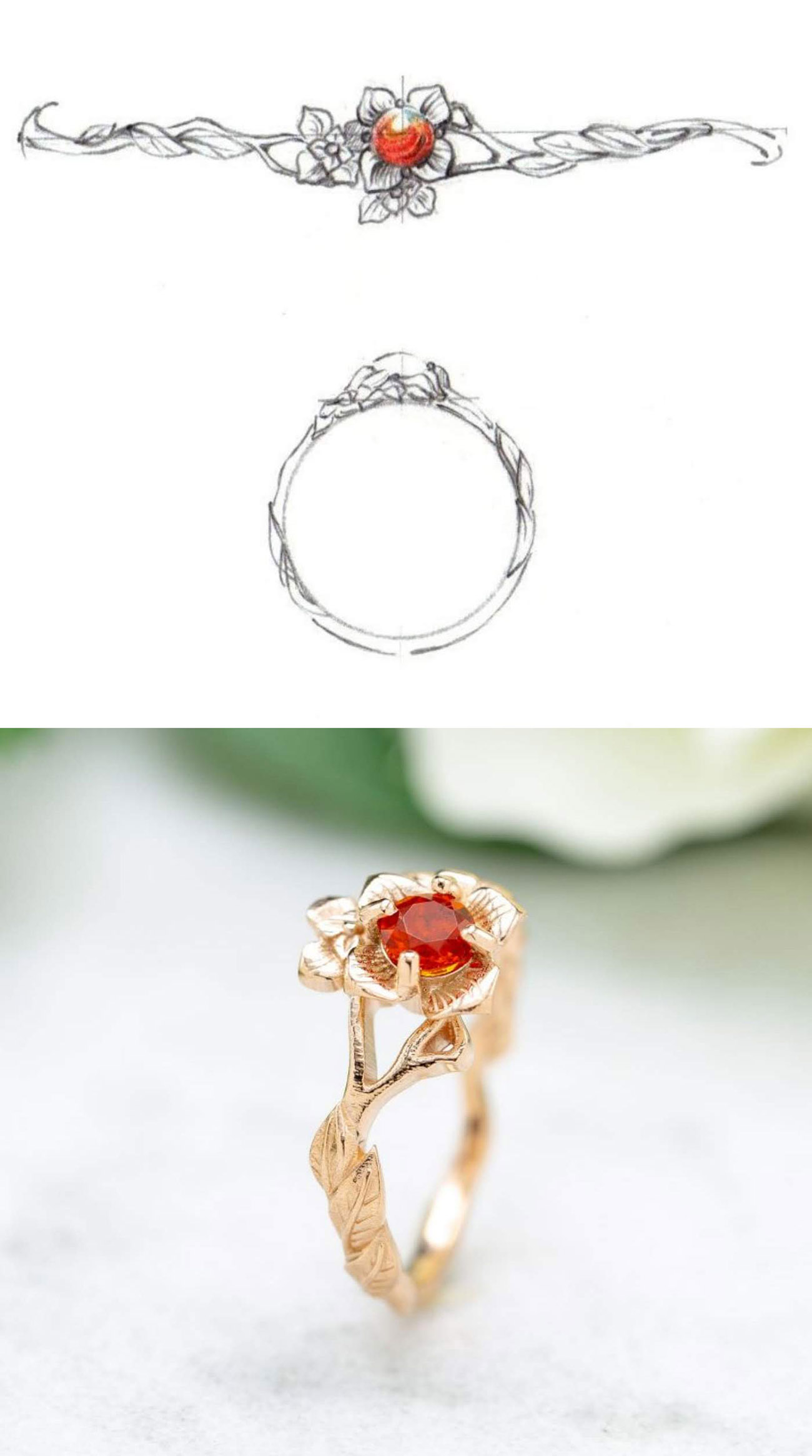 CustomMade engagement ring inspired by favorite flower