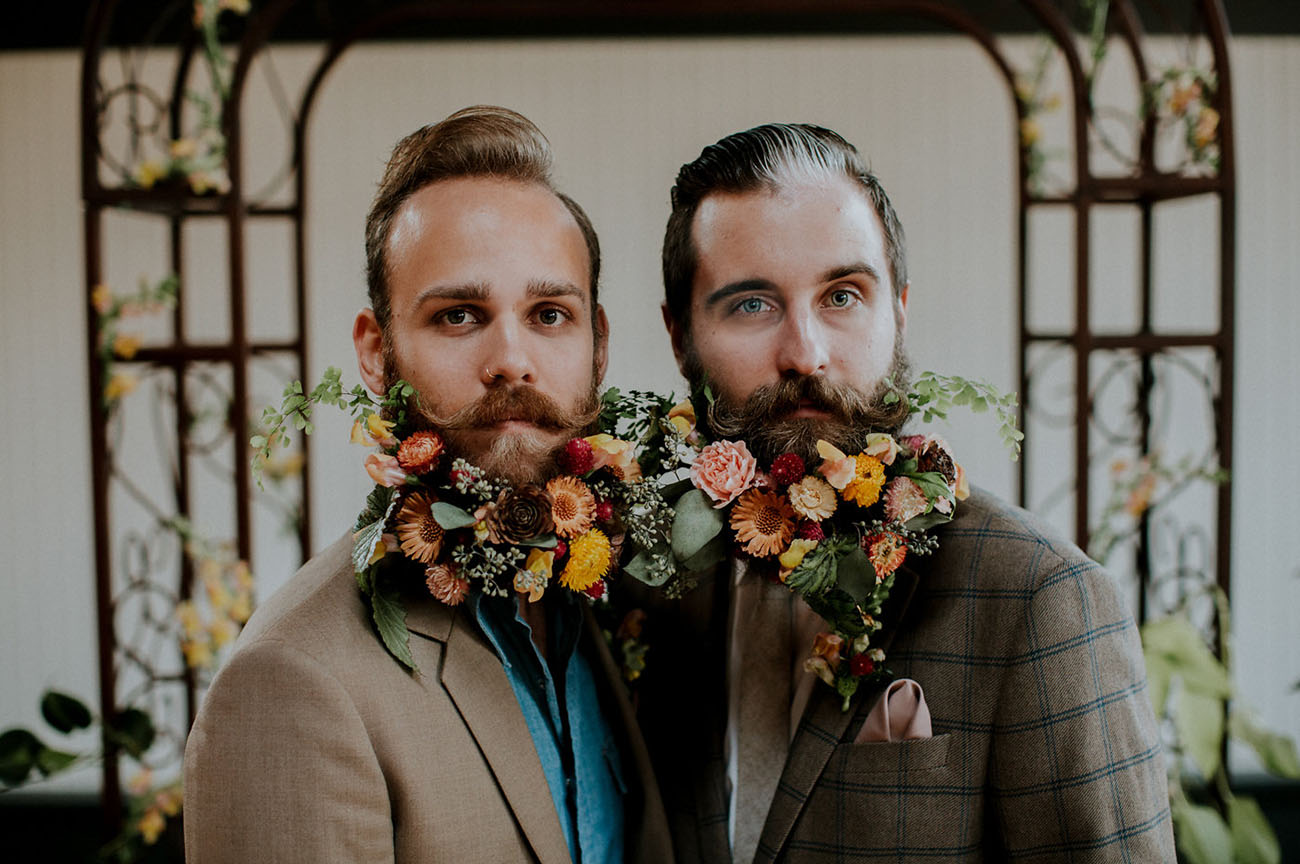 couple with flowers in beard