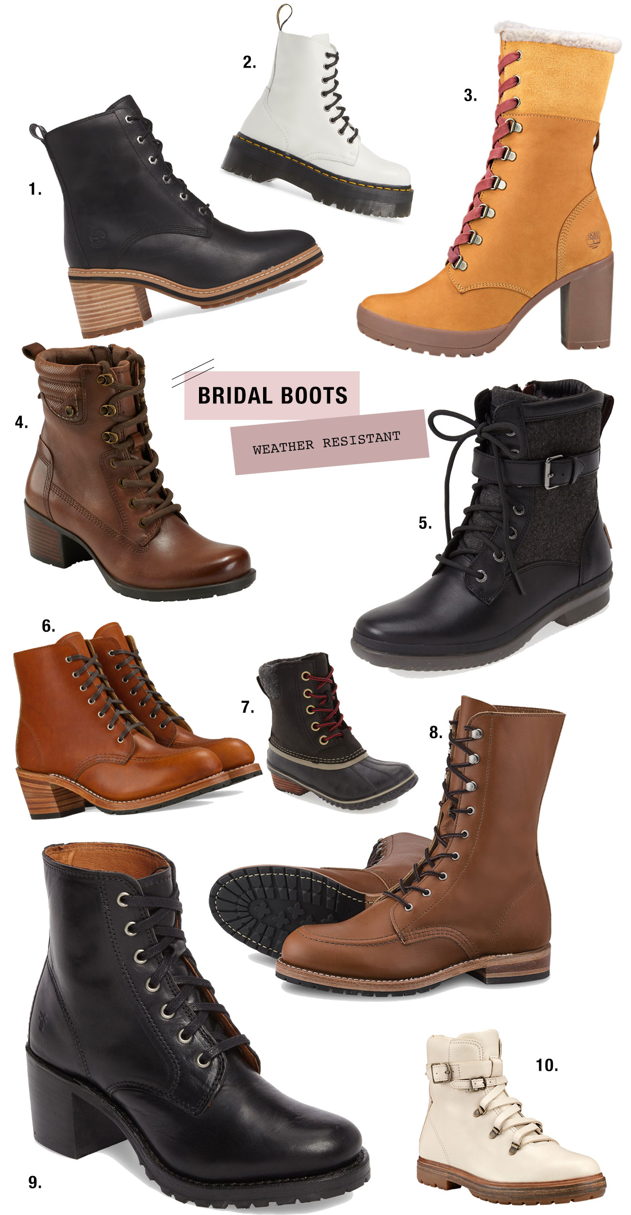 weather resistant bridal boots for elopements + adventure
