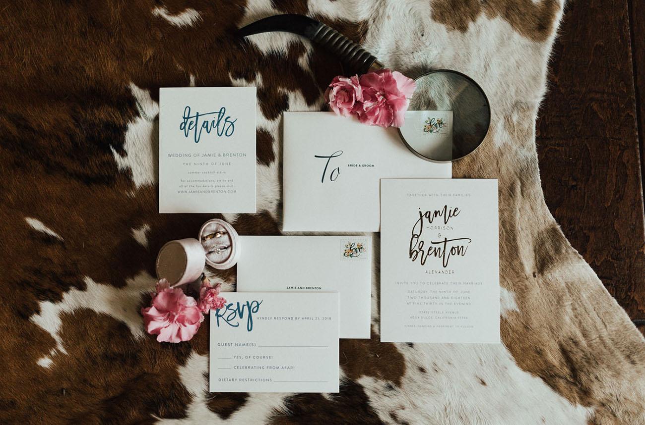 simple script wedding invitation