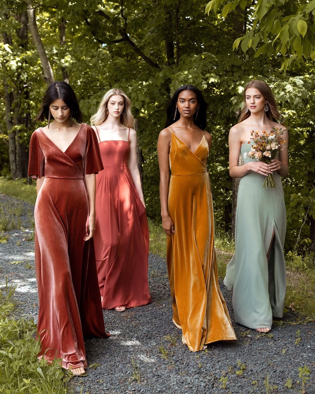 fall wedding color palette bridesmaids in Jenny Yoo