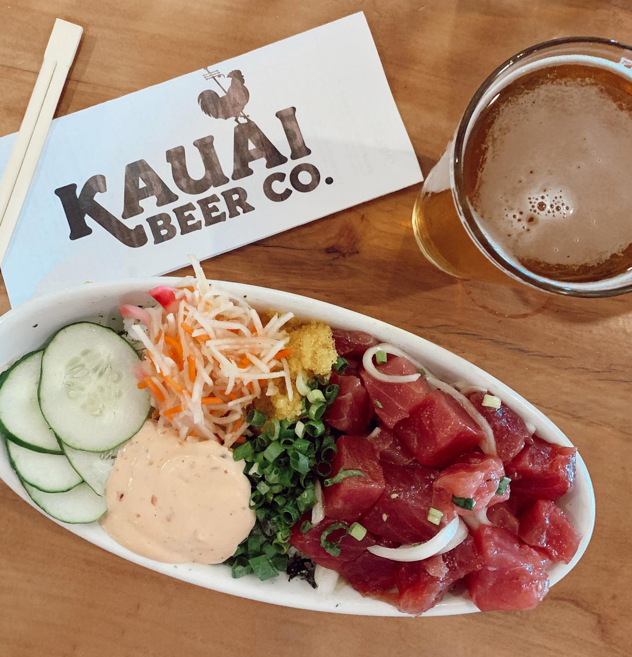 Poke Bowl at Kauai Beer Co