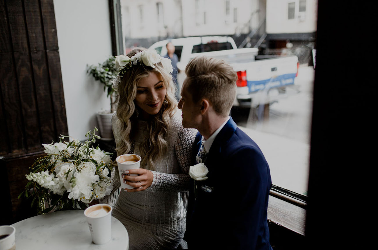 NYC elopement coffee shop