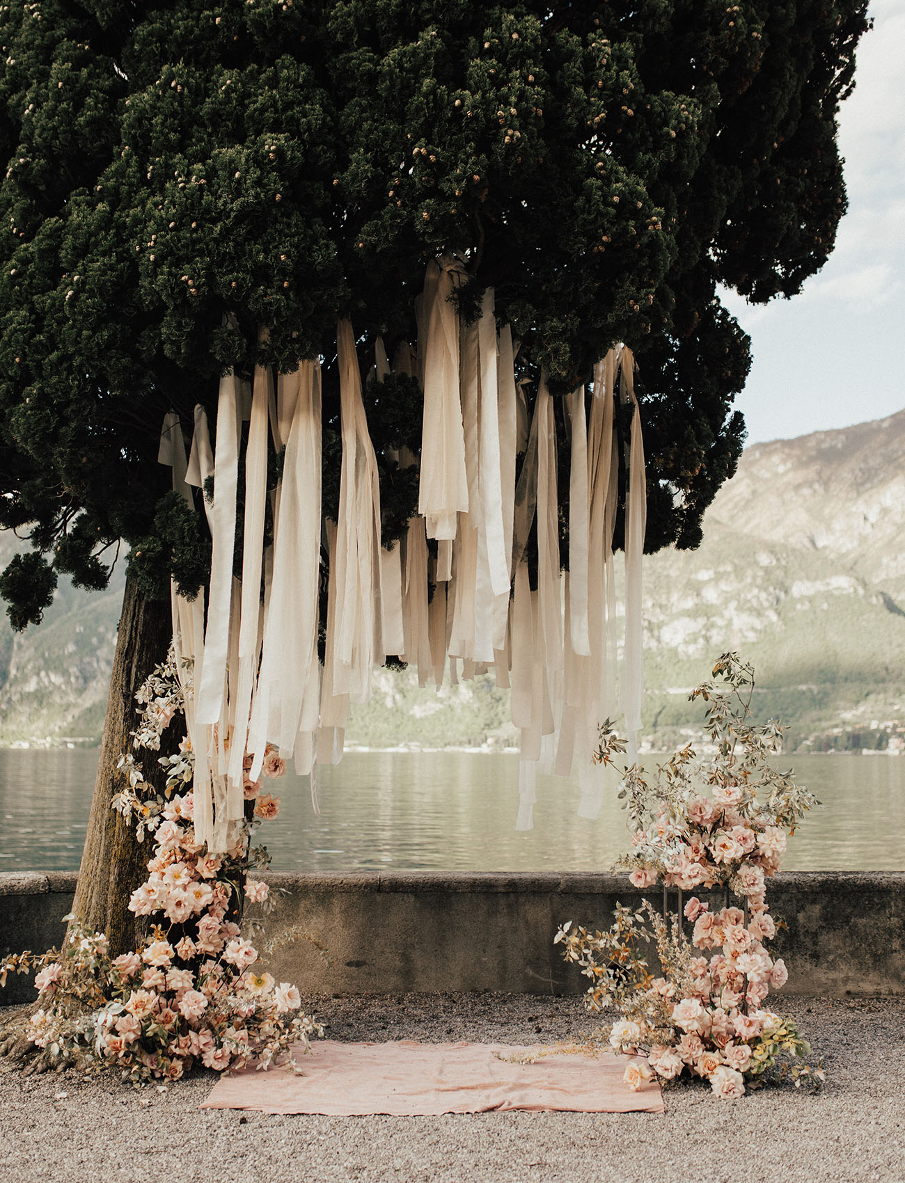 hanging fabric ceremony backdrop
