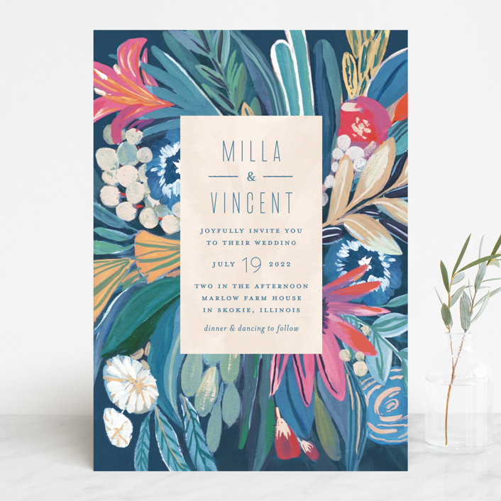 Floral Burst painted wedding invitation from Minted
