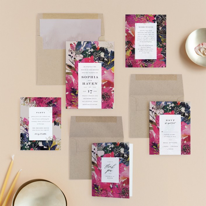 Floral painted wedding invitation from Minted