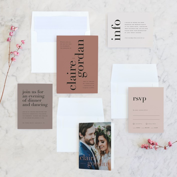 Type wedding invitation from Minted