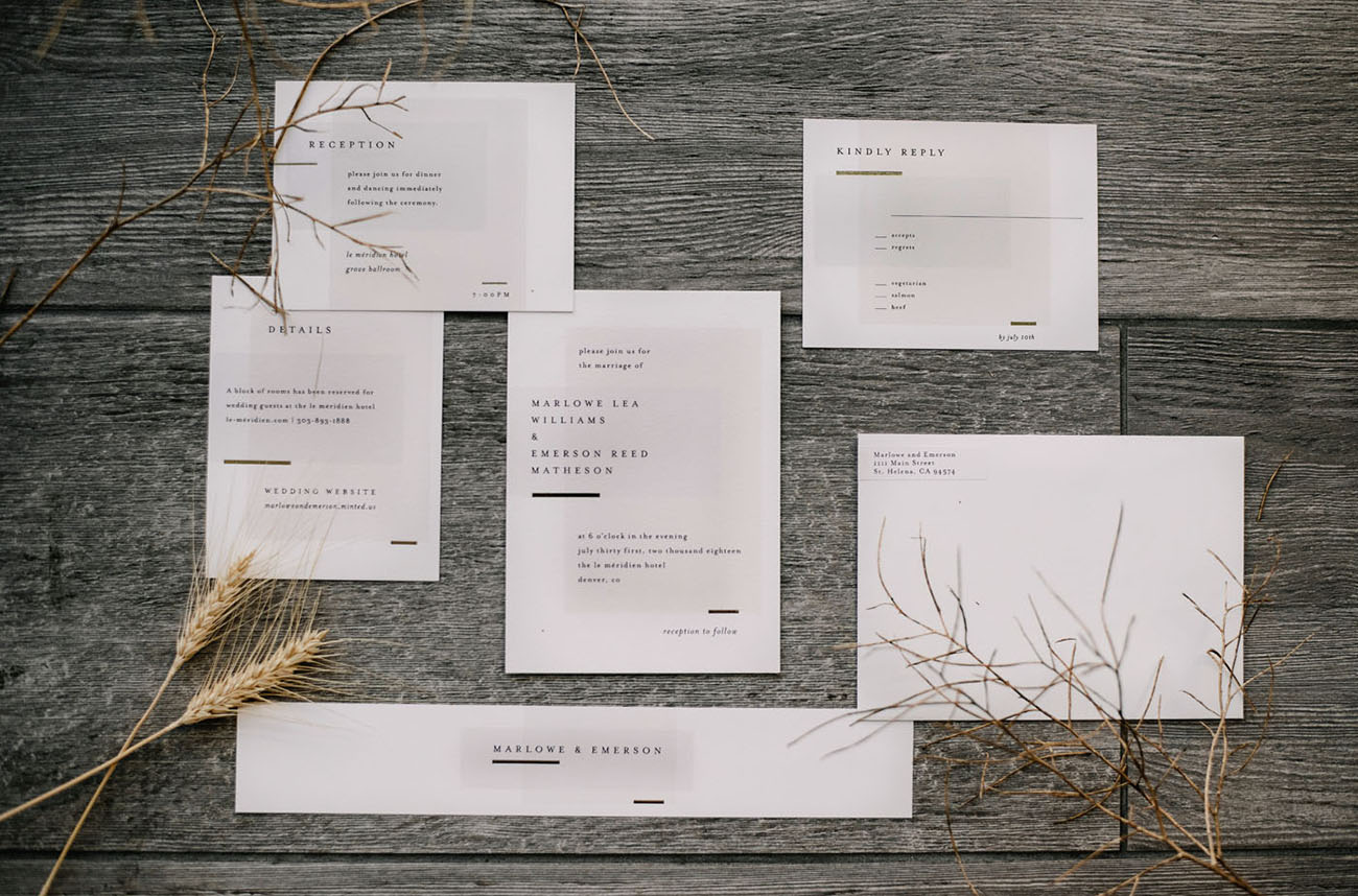 modern monochrome wedding invitations by Minted