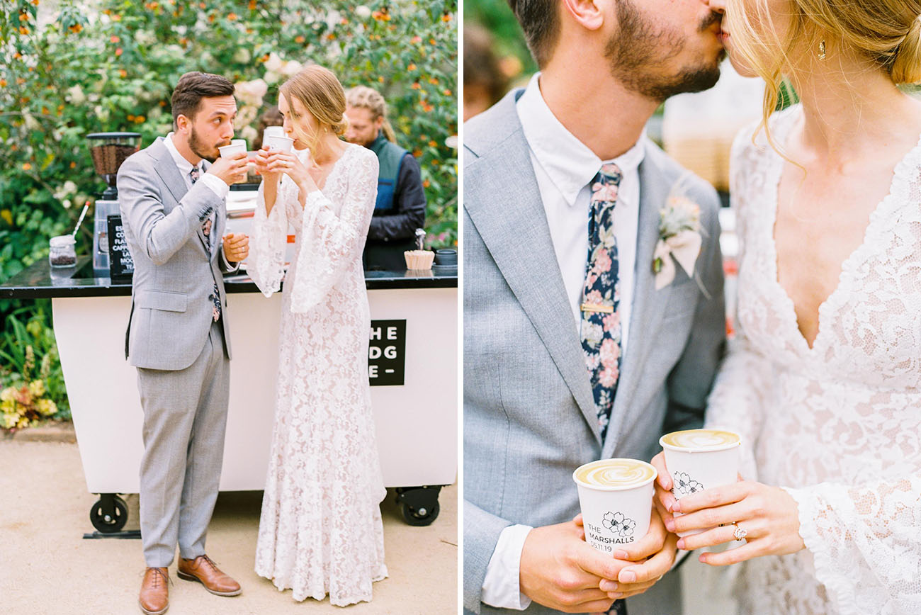 custom stamped coffee cups, coffee cart for wedding