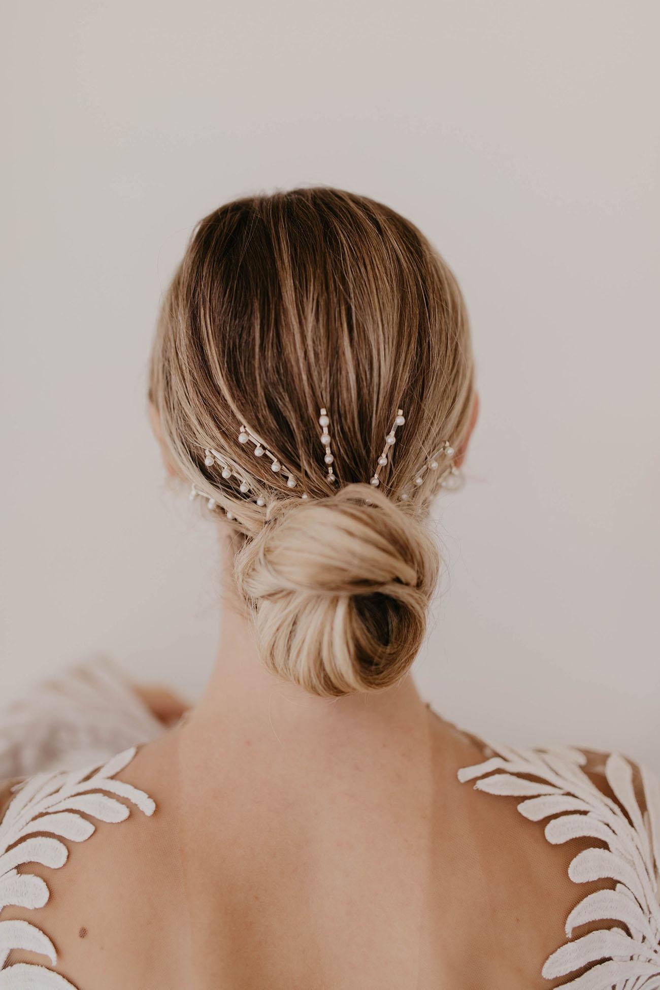 bridal hair ideas, low chignon, pearl pins
