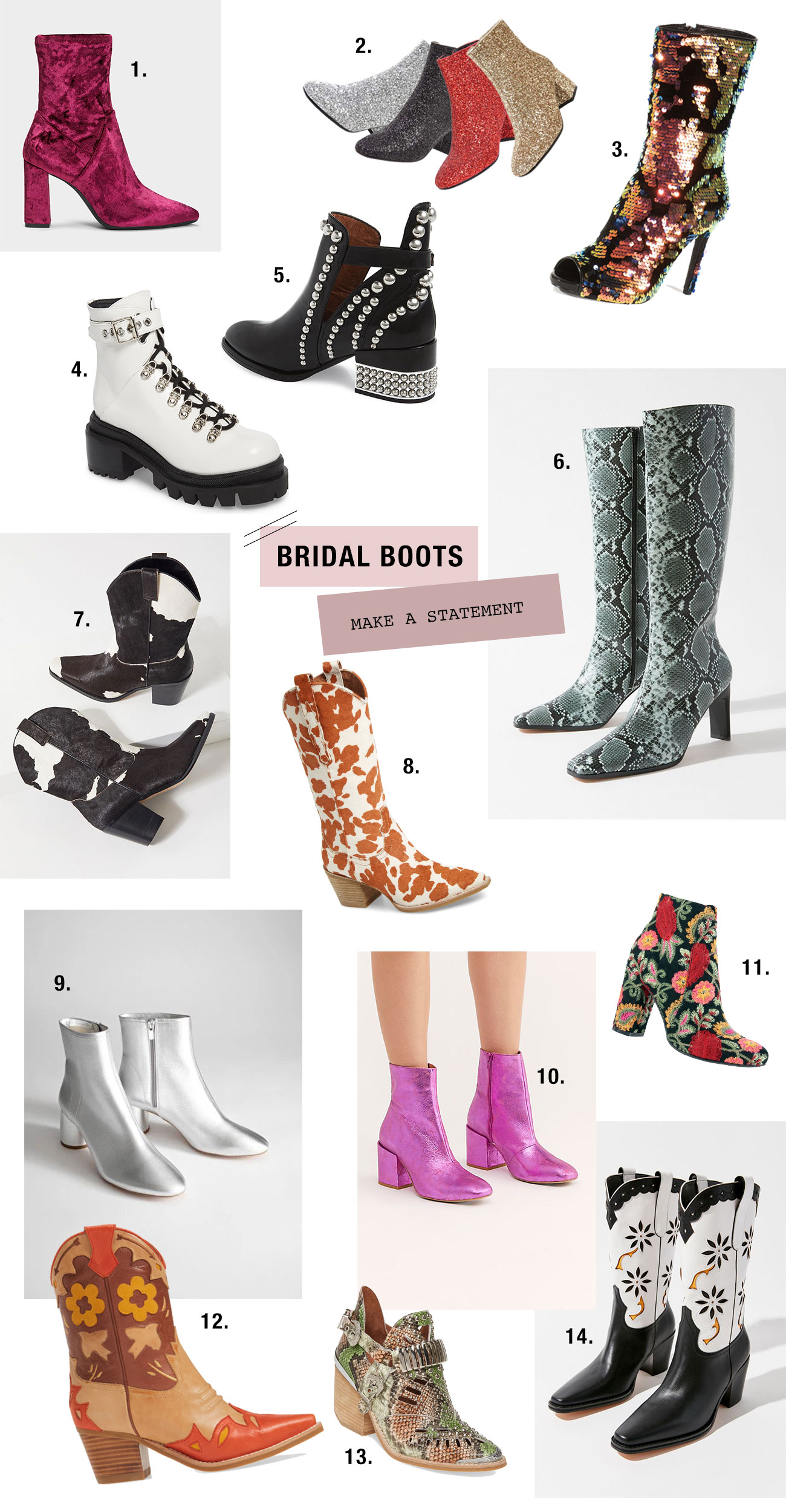 statement bridal boots