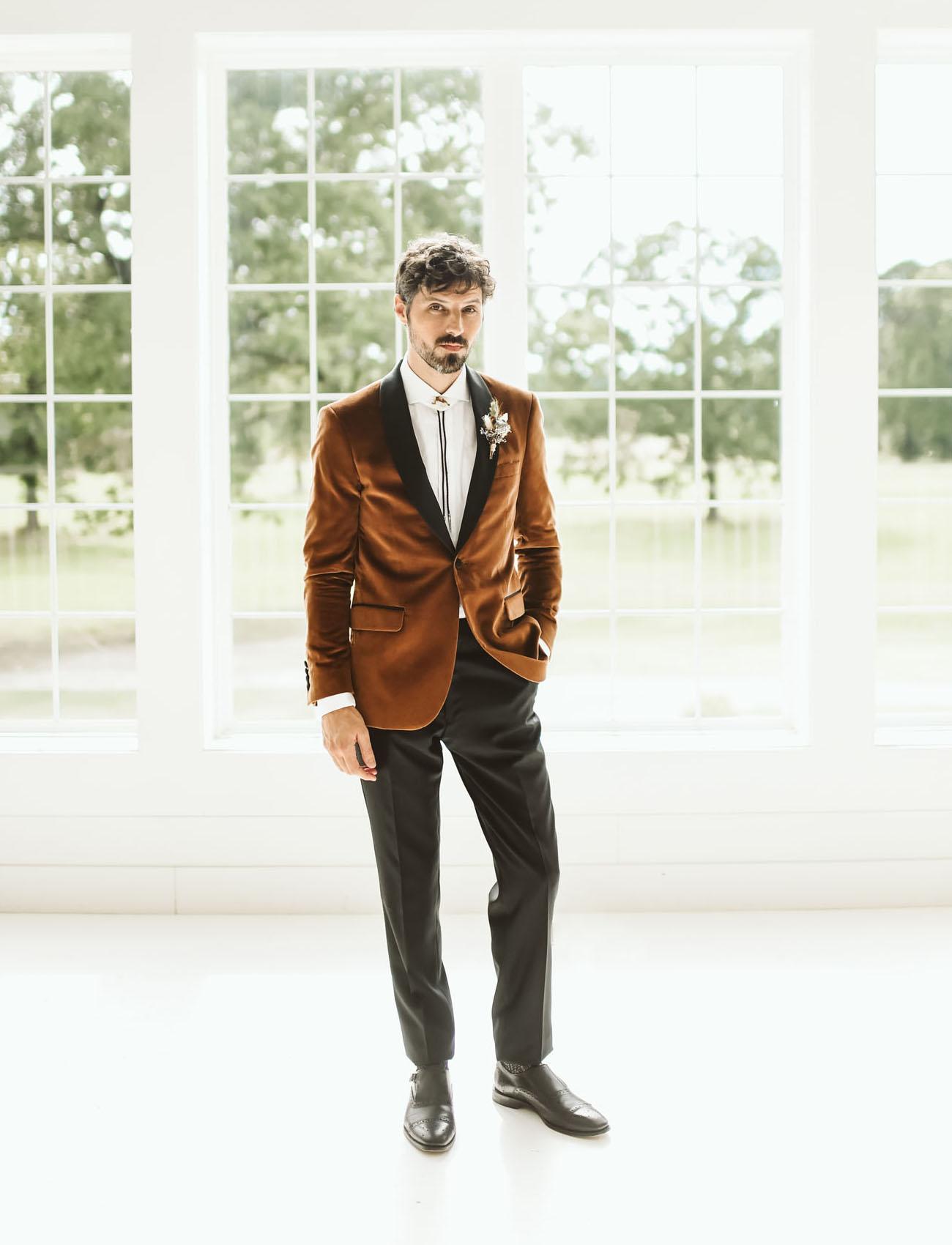 rust velvet groom jacket