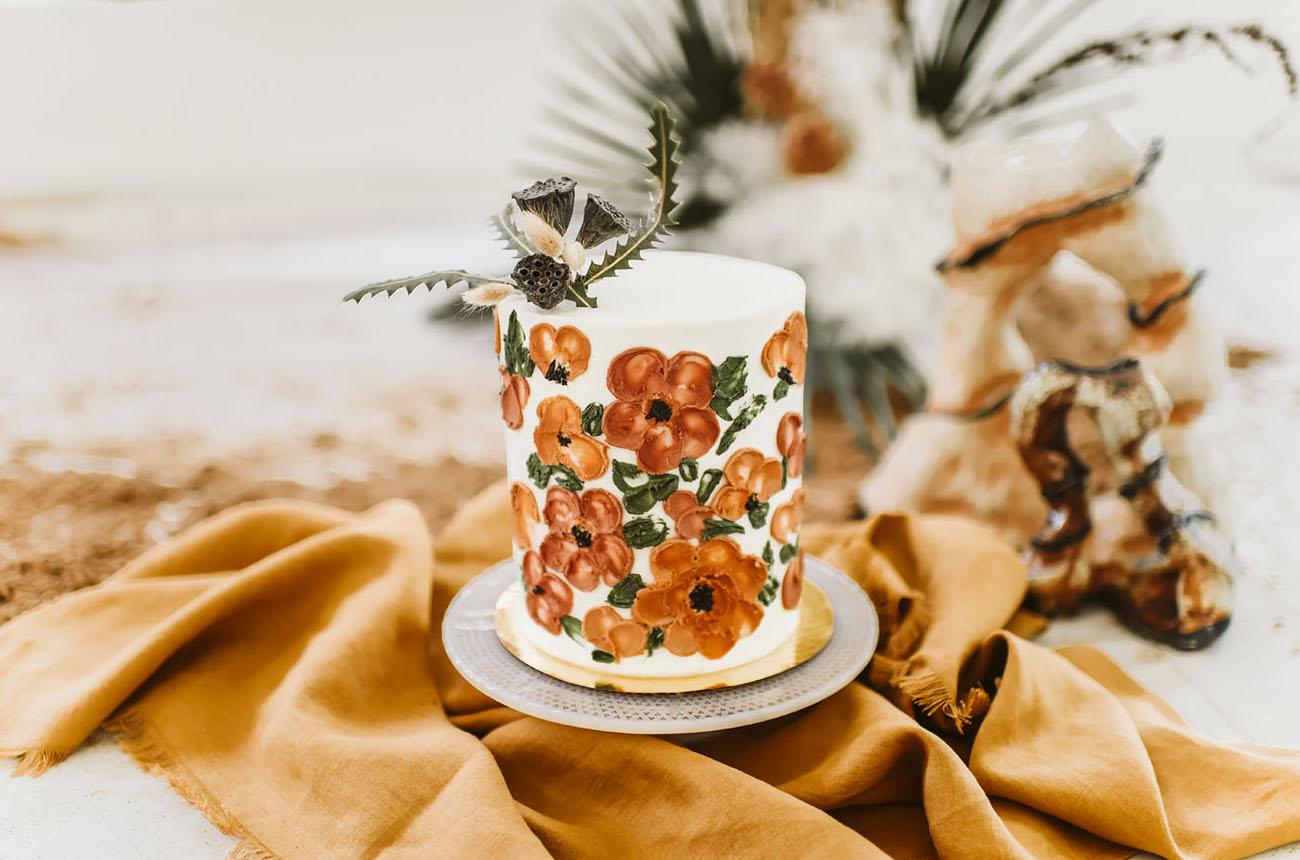 flower painted wedding cake
