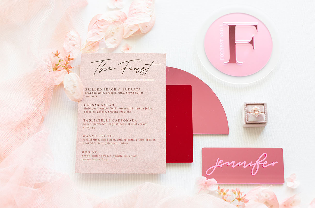 modern pink and red invitation