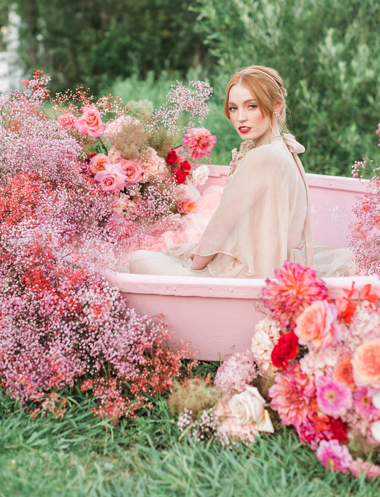pink floral boat