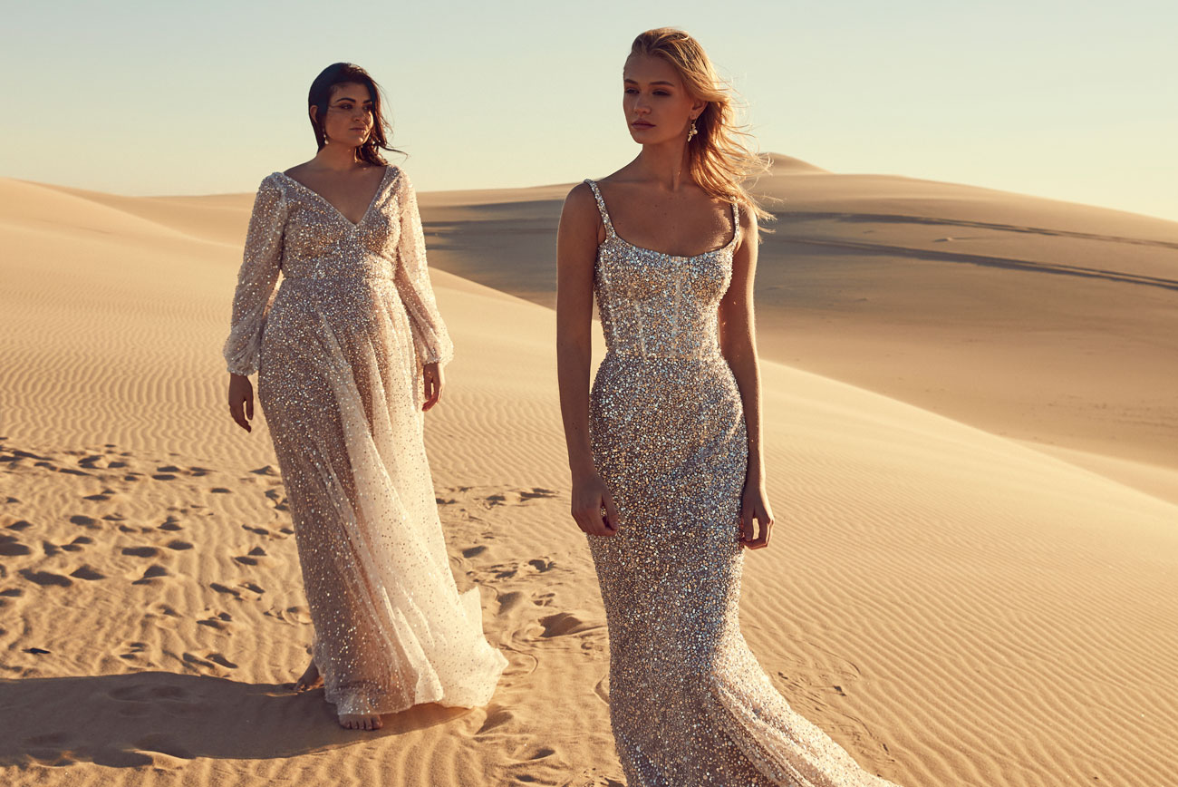 sequined wedding dress from CHOSEN by One Day Desert Rose Collection