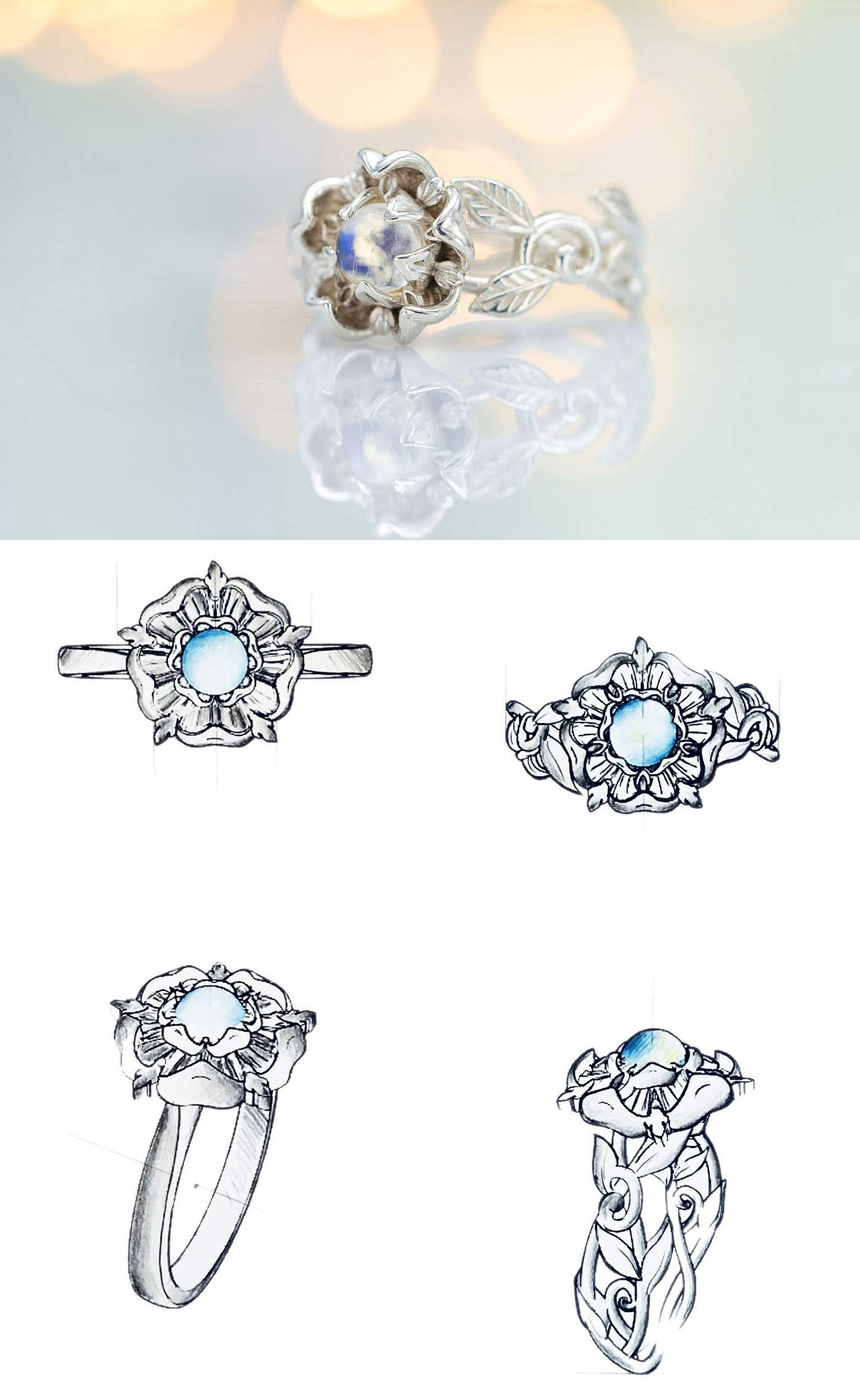 CustomMade engagement ring inspired by Tudor heritage