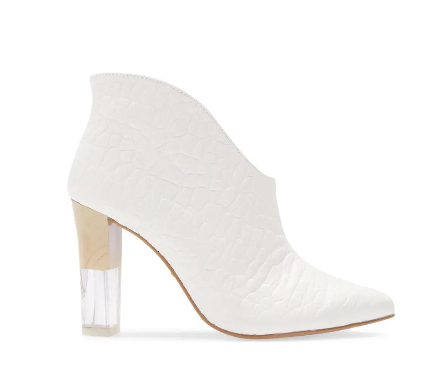 white wedding bootie