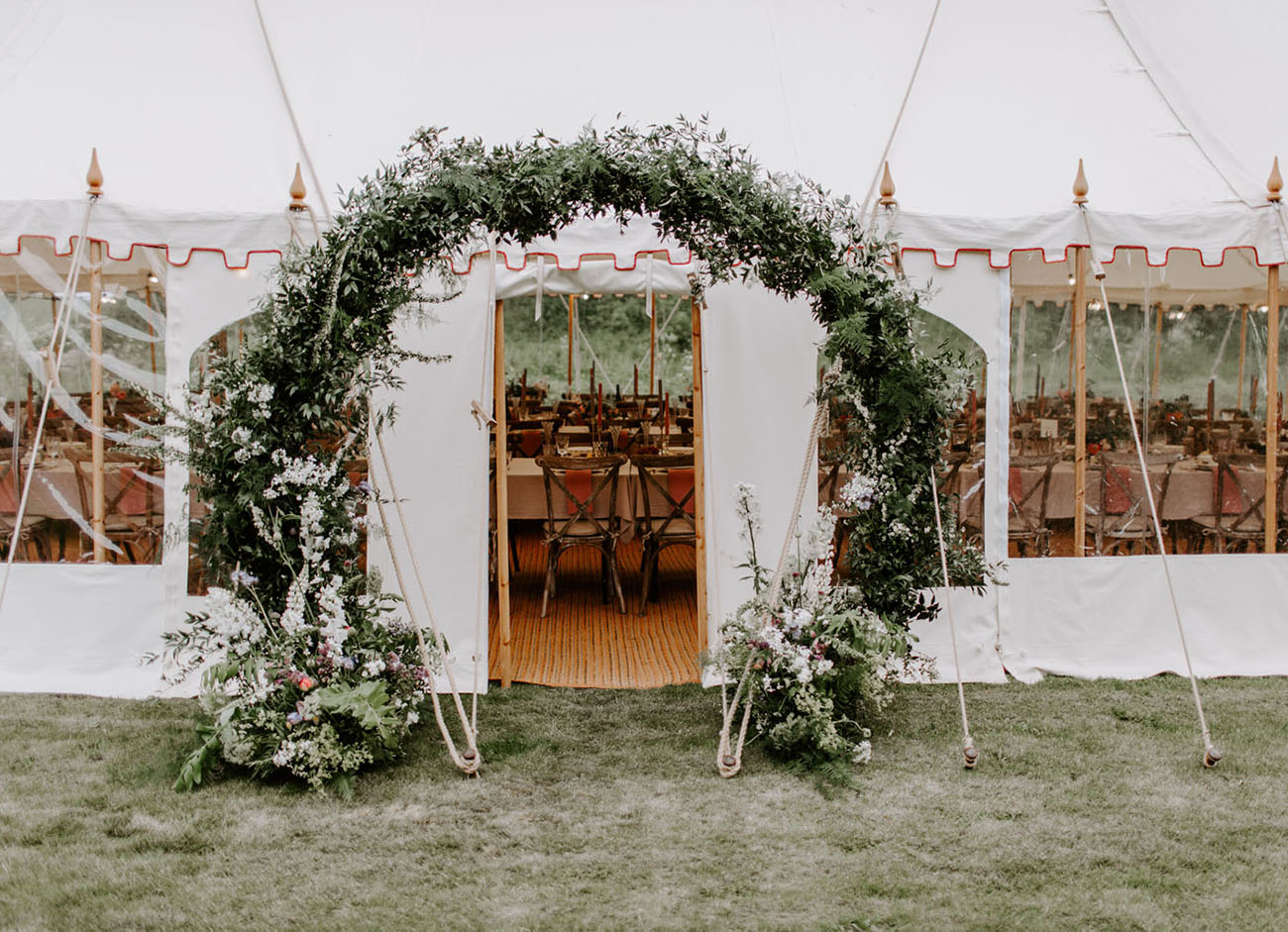 greenery floral reception entrance