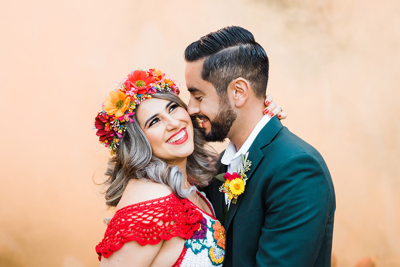 Wedding Photos with Orange Smoke