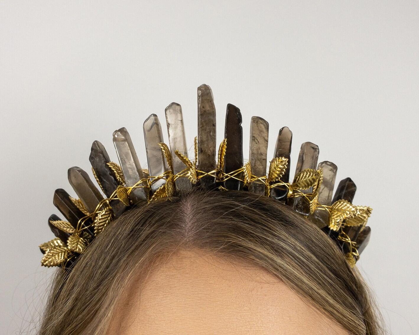 Halloween wedding - Black Crystal Witch Crown